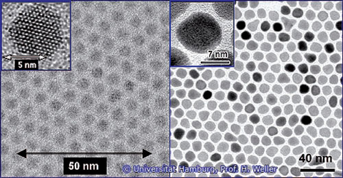Electron microscopical images of various nanoparticles