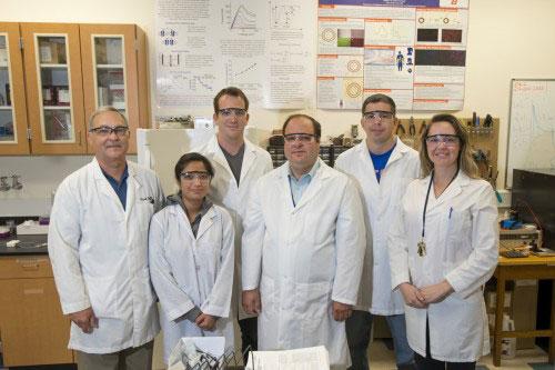 Doctoral students Mark Smith, Nisha Shrestha, Josh Eixenberger, professor Daniel Fologea, physics graduate Steve Rossland and doctoral student Sheenah Bryant