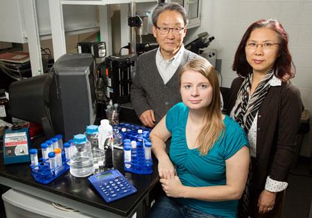 "Illinois professor Kyekyoon ""Kevin"" Kim, graduate student Elizabeth Joachim and research scientist Hyungsoo Choi"