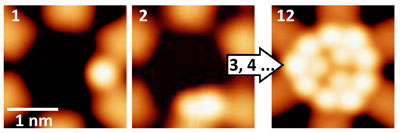 three different quantum wells that contain one, two and three xenon atoms