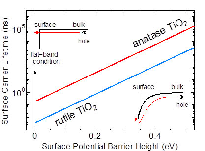 surface carrier lifetime of anatase and rutile TiO2