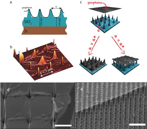 Transferred graphene on nanopillars