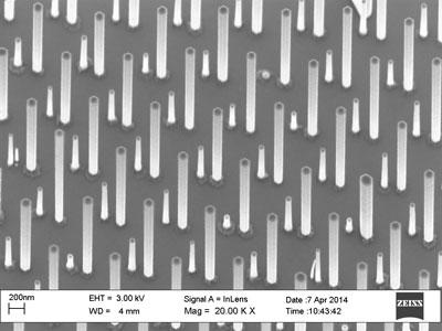 Electronmicrograph - An electron micrograph of the dual-type nanowire array