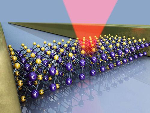 Bismuth-selenide sample between two gold electrodes