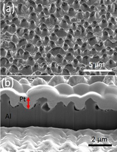 Nanostructures on aluminium