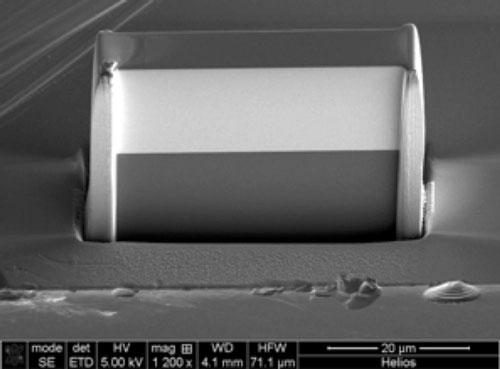 Scanning electron microscope image of an X-ray lens
