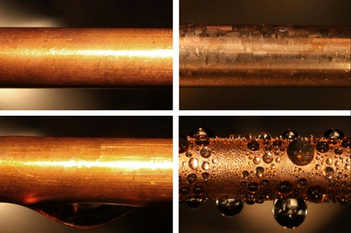 An uncoated copper condenser tube (top left) is shown next to a similar tube coated with graphene