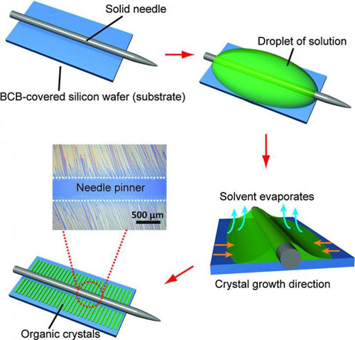 Large-scale field-effect transistors based on solution-grown