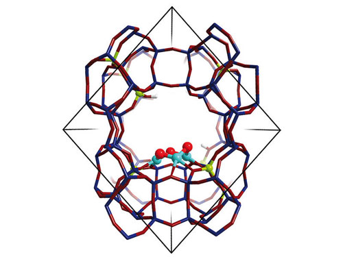 zeolite structure with the Cu3O3-cluster as the active center
