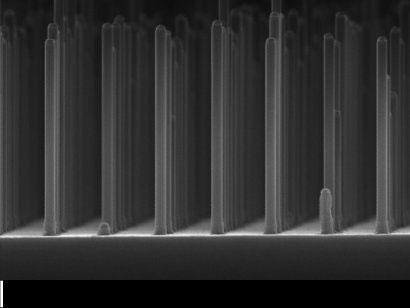 >Array of nanowires gallium phosphide made with an electron microscope