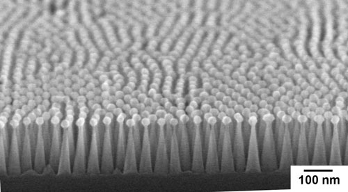 An image of a silicon moth eye, fabricated by polymer self-assembly