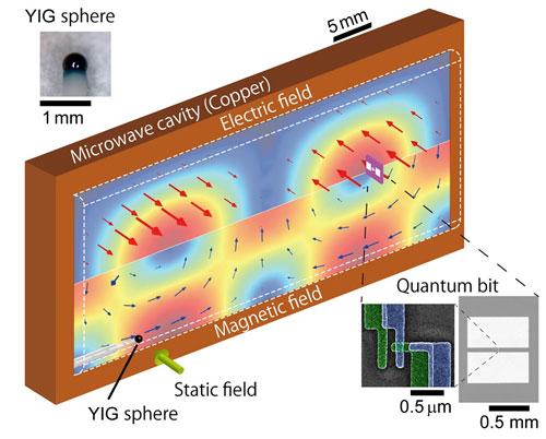 Illustration of magnet-qubit coupled system