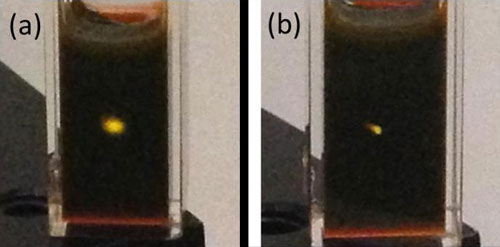 Photographs of upconversion in a cuvette containing cadmium selenide/rubrene mixture