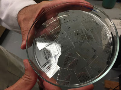 sol-gel material placed on a clear plastic substrate