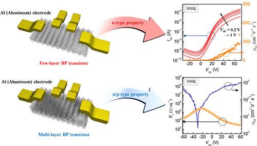 Atomic structure of black phosphorus and n/p-type transistor property of BP transistor