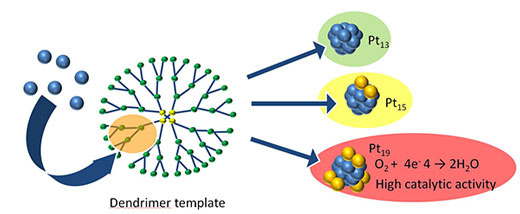Schematic of the stepwise dendrimer-templating strategy for synthesizing platinum clusters with a controlled number of atoms