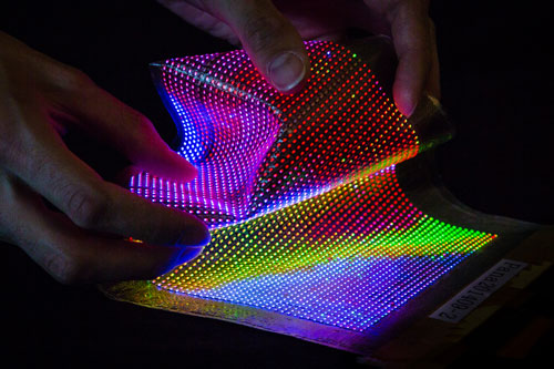 stretchable and conformable thin-film transistor (TFT) driven LED display