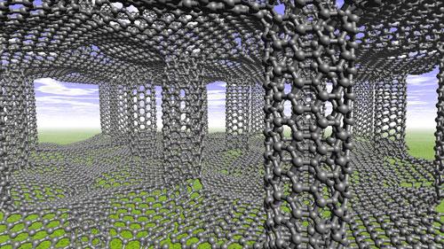 Carbon nanotube pillars between sheets of graphene