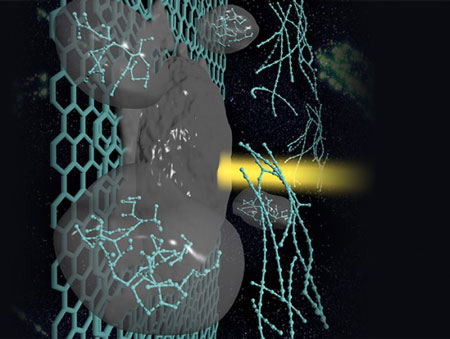 A carbyne strand forms in laser-melted graphite