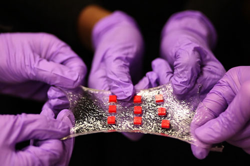 a sheet of hydrogel is bonded to a matrix of polymer islands