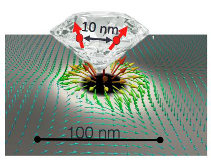 Diamond Nanoparticle Coupled with Magnetic Vortex
