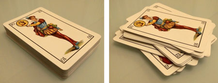 Spanish playing cards used to represent the concept of heterostructures