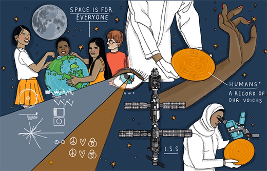 The Humanity United with MIT Art and Nanotechnology in Space (HUMANS) project aims to send a message into space that the cosmos are for everyone