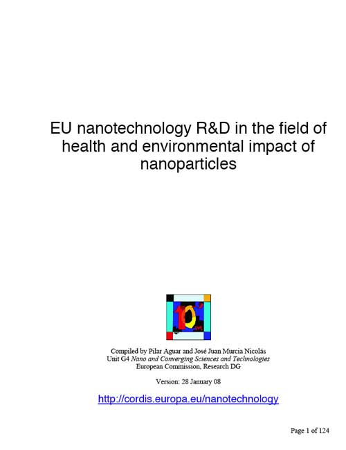 EU nanotechnology R&D in the field of health and environmental impact of nanoparticles
