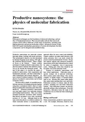 Productive Nanosystems: the physics of molecular fabrication