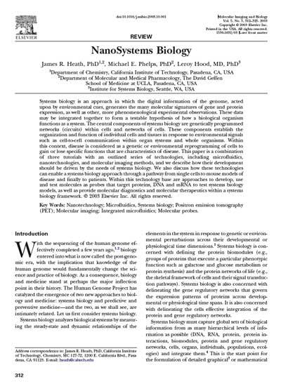 Nanosystems Biology