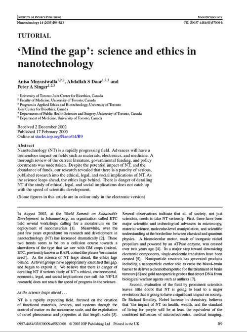 Mind the Gap: science and ethics in nanotechnology