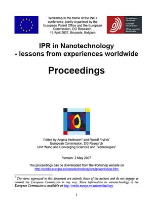 IPR in Nanotechnology - lessons from experiences worldwide