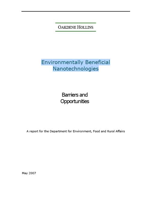 Environmentally Beneficial Nanotechnologies