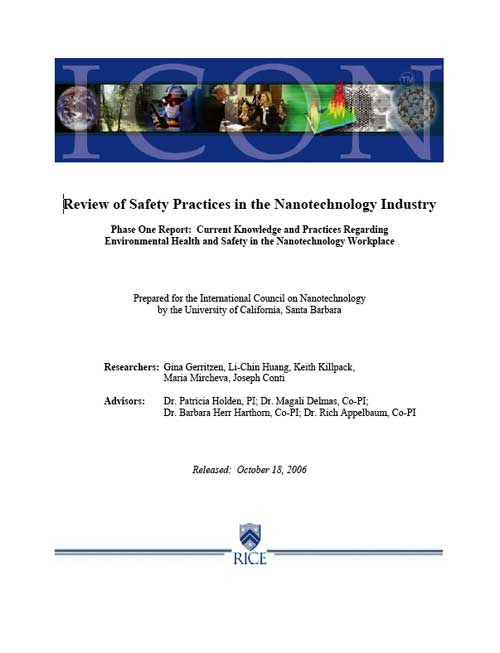 Review of Safety Practices in the Nanotechnology Industry