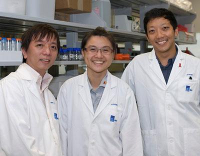IBN YRP student Roderica Ng (middle), with her mentors, Dr Edwin Chow (left), IBN Team Leader and Senior Research Scientist and Dr Jeremy Teo (right), IBN Postdoctoral Fellow