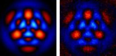 This image represents a quantum state with zero, three and six photons simultaneously. The theory is on left and the experiment is on the right