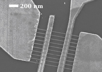 This scanning electron microscope image shows graphene nanoribbons that are 22 nanometers wide between the middle electrode pair
