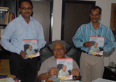 >Editor K. Jayadev, Prof. CNR Rao, and K. hari Prasad, CEO of Nano Digest unveiling the first edition of Nano Digest, India's first magazine on nanotechnology