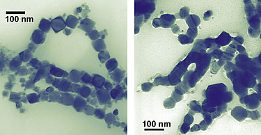 >These cubes of cobalt (left/top), measuring about 50 nanometers wide, are showing scientists that, on the nanoscale, a change in shape is a change in property. Unlike smaller spherical cobalt nanoparticles, nanocubes melt and fuse (right/bottom) when illuminated by a transmission electron microscope and possess different magnetic characteristics than the nanospheres as well
