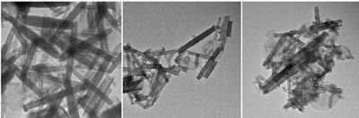 TEM images of nanotubes obtained when bulk SnS2 and bulk SnS were used as precursors for the synthesis of SnS2 nanotubes