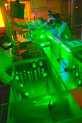 >Berkeley Lab's Csaba Toth, Joseph Wallig, and Wim Leemans working with a 40-terawatt laser