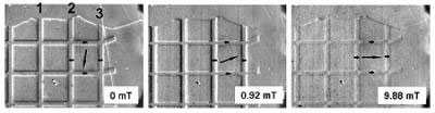 a series of MOIF images shows reversal of domains in a ferromagnetic film having a grid of antiferromagnetic strips on top as the external field increases to the right
