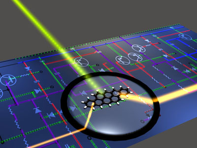 An artist vies of a photonic circuit with molecular building blocks. A single-molecule optical transistor is depitcted using a standard symbol for an electronic transistor