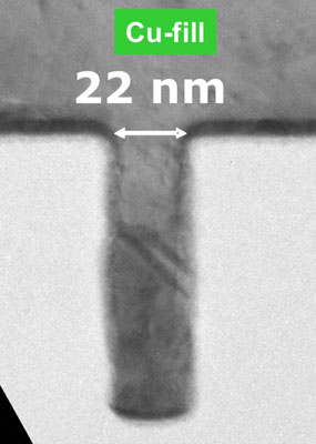 Cross-section TEM inspection of a 22nm interconnect line