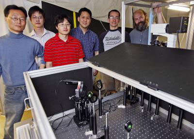 From left are graduate students Hyon-Min Song, Qingshan Wei and Dongmyung Oh; chemistry professor Alexander Wei; graduate student Jacob Hale; and associate professor of physics Kenneth Ritchie