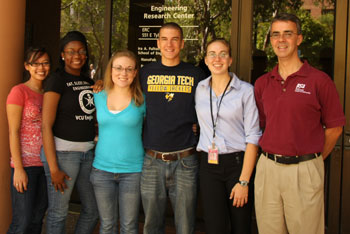 Electrical engineering professor Trevor Thorton (far right) and five students he helped introduce this summer to high-level nantechnology research