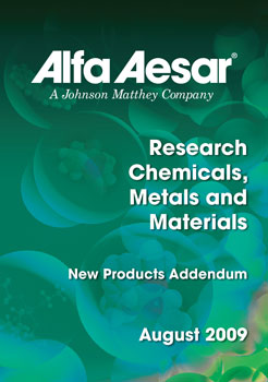 Research Chemicals Catalog Addendum from Alfa Aesar