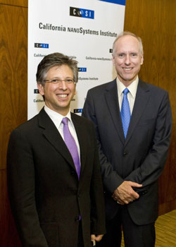UCLA Executive Vice Chancellor Scott Waugh (right) welcomes new CNSI director Paul S. Weiss