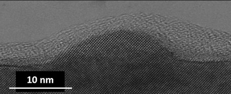 TEM picture of a quantum dot on a gallium arsenide layer. On top is a glue layer due to TEM preparation only