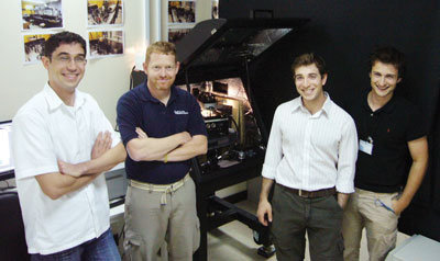 From left with the new MFP-3D Stand Alone AFM at the Masdar Institute:  Amro Al Khatib, Keith Jones of Asylum Research, Dr. Aaron Schmidt, and group leader, Dr. Matteo Chiesa.